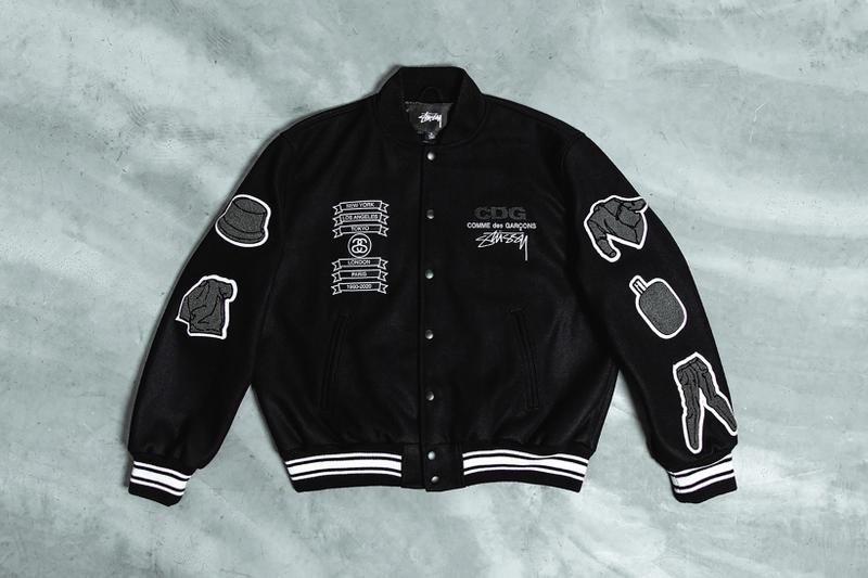 comme des garcons stussy collaboration varsity jacket black outerwear