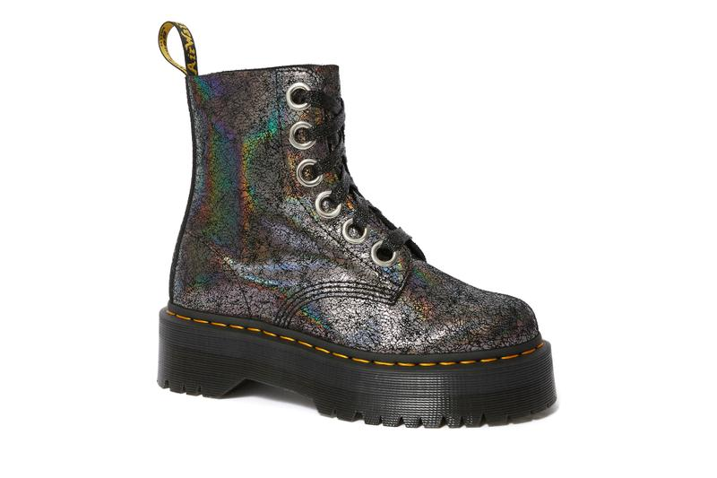 Dr. Martens Cracked Foil Boots Gold Collection Colorful Bold Metallic Texture Fall Winter Shoe
