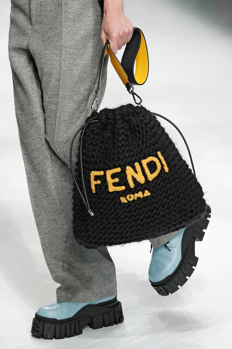 Fendi Fall/Winter 2020 Collection Bags Drawstring Knit