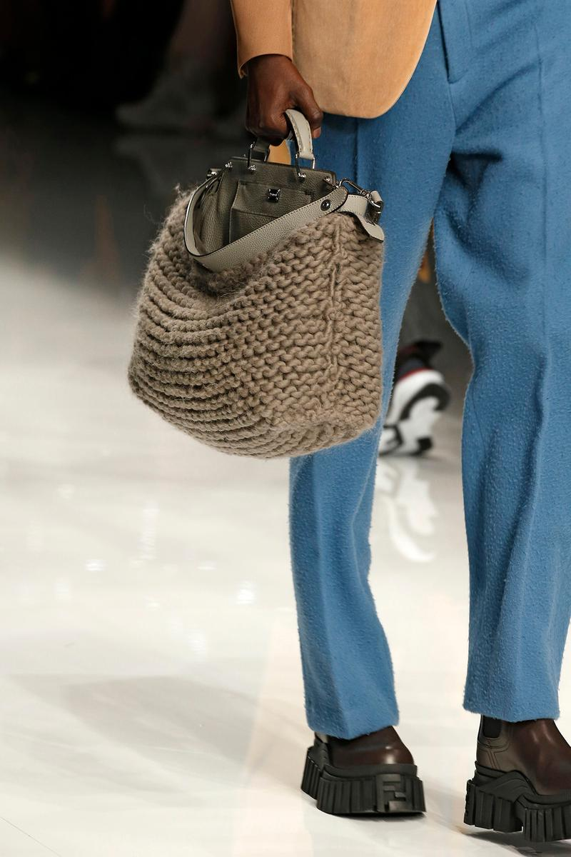 Fendi Fall/Winter 2020 Collection Bags Peekaboo Knit Beige