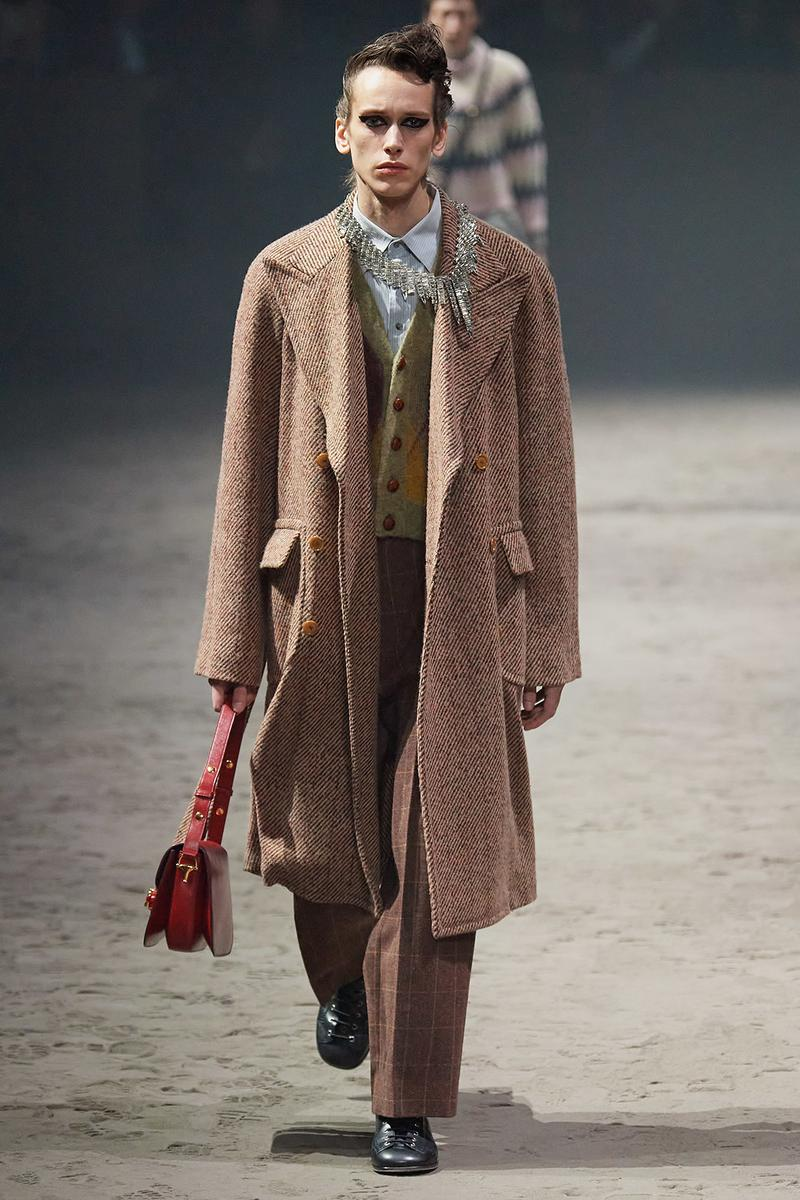 Gucci Fall/Winter 2020 Men's Collection Tweed Coat Brown
