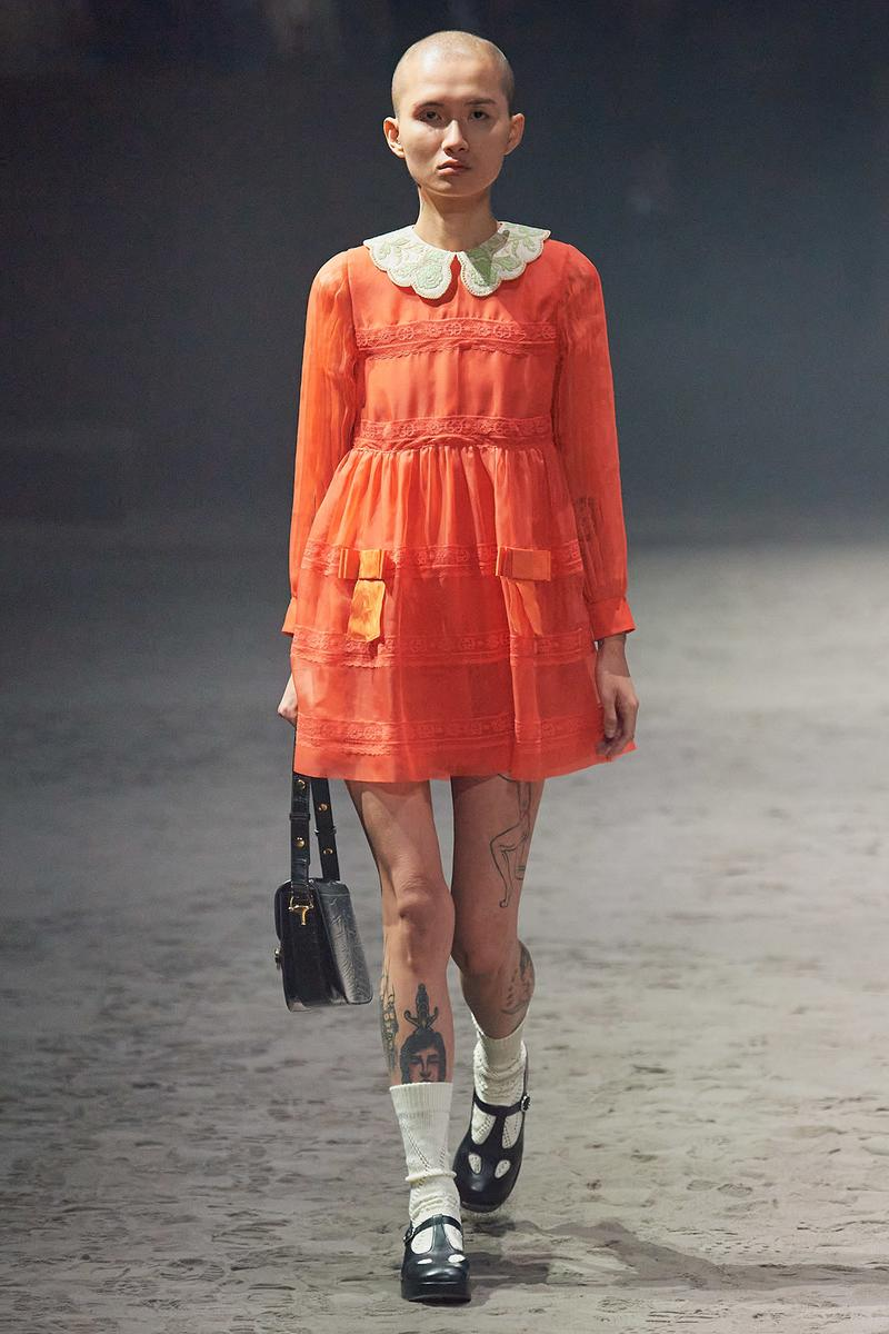Gucci Fall/Winter 2020 Men's Collection Babydoll Dress Orange