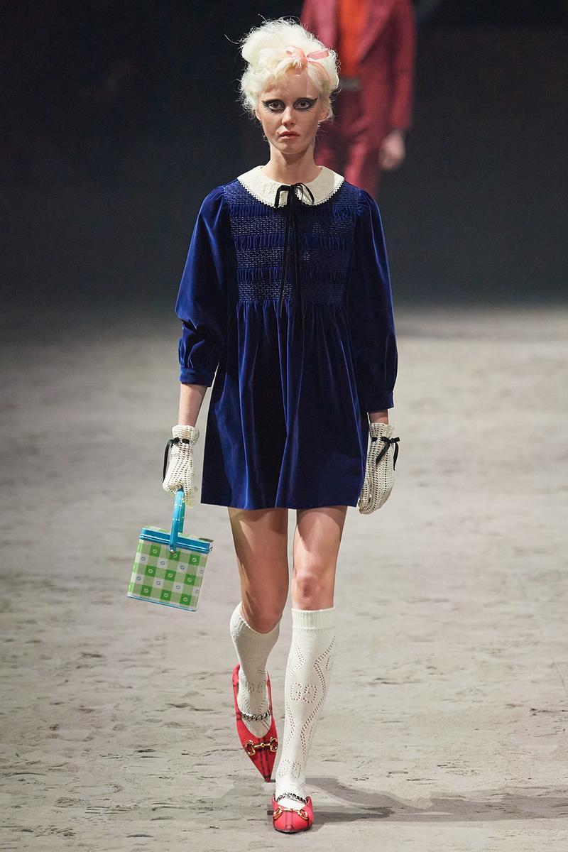 Gucci Fall/Winter 2020 Men's Collection Babydoll Dress Blue