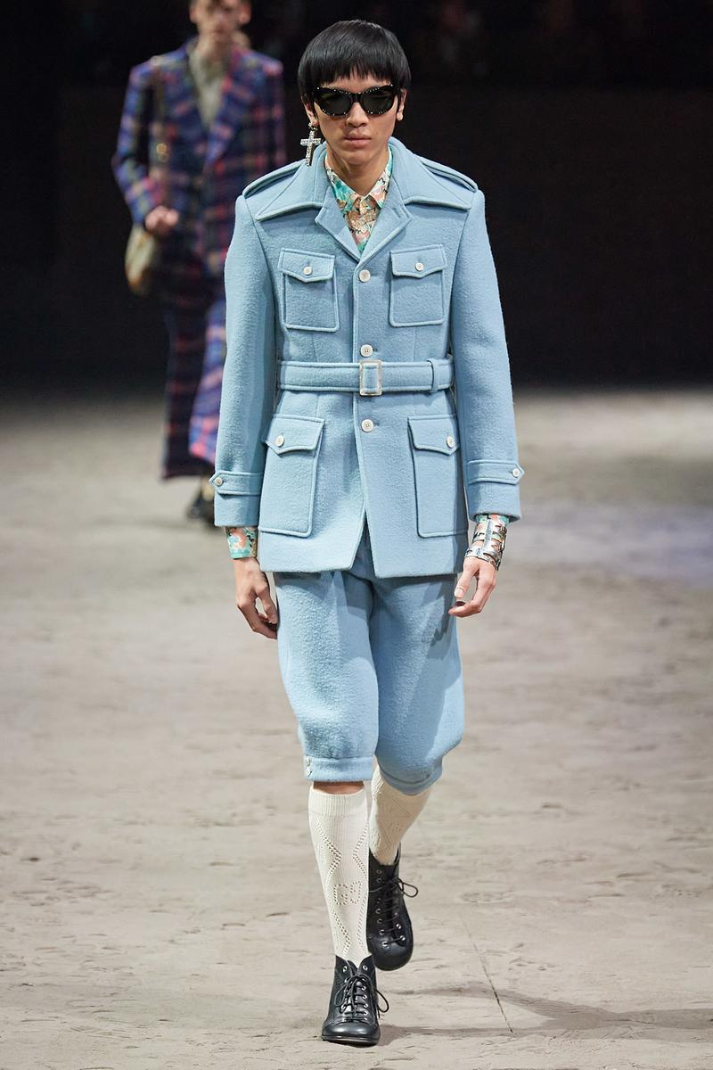 Gucci Fall/Winter 2020 Men's Collection Suit Belted Blue