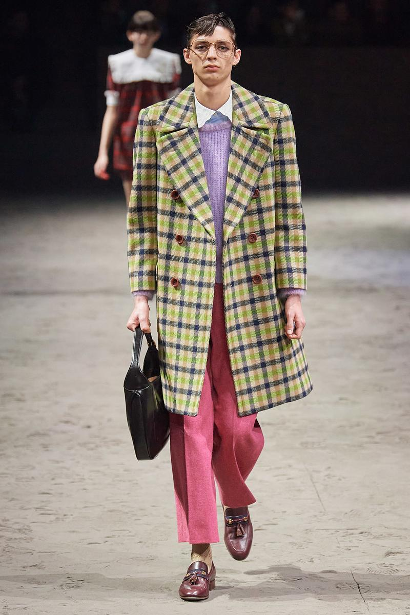 Gucci Fall/Winter 2020 Men's Collection Coat Plaid Yellow