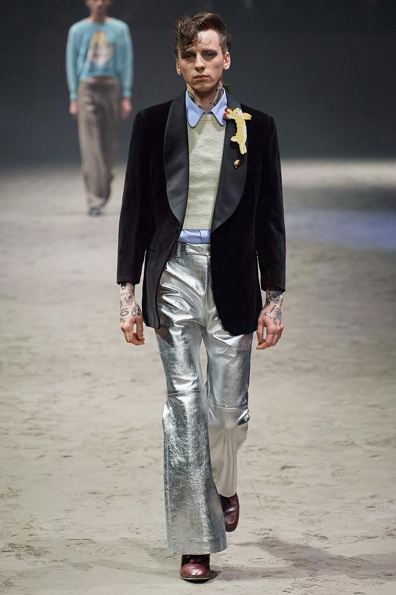 Gucci Fall/Winter 2020 Men's Collection Velvet Jacket Silver Pants