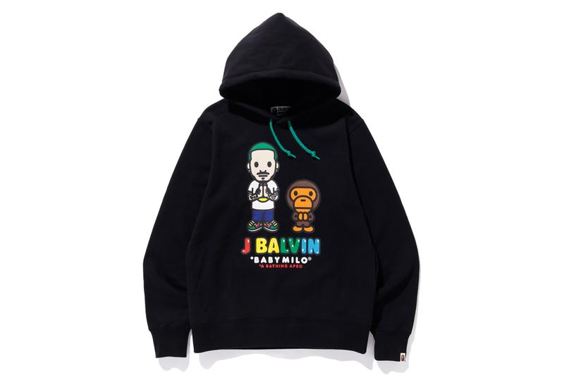 a bathing ape bape collection j balvin collaboration capsule t-shirts hoodies apparel colorful miami exclusive baby milo