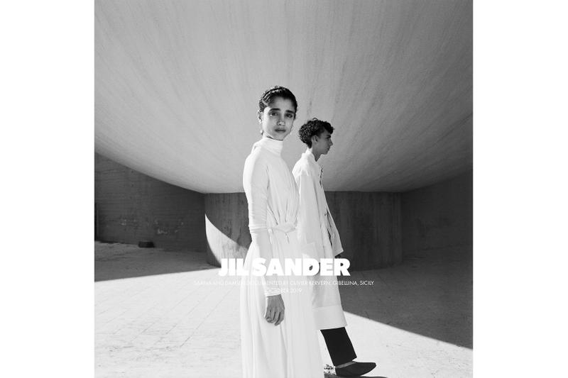 Jil Sander Spring/Summer 2020 Collection Campaign Draped Dress White Men's Coat White