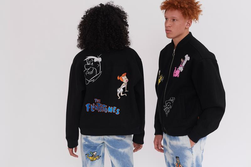 lazy oaf the flintstones collaboration cartoon network sweaters bomber jackets sweaters pants sneakers converse orange black jeans denim