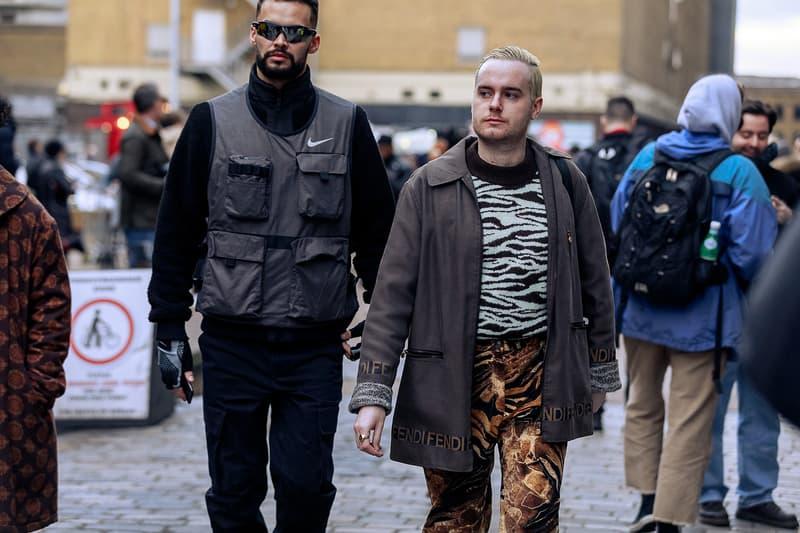 London Fashion Week Men's Fall/Winter 2020 Street Style Zebra Print