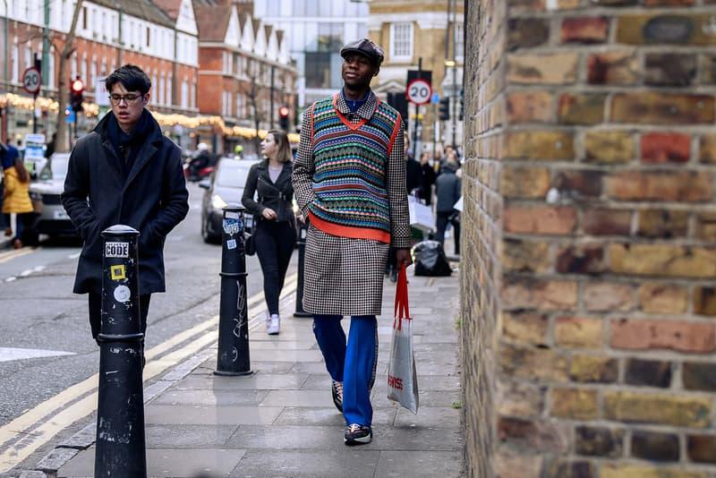 London Fashion Week Men's Fall/Winter 2020 Street Style Knit Vest Pattern