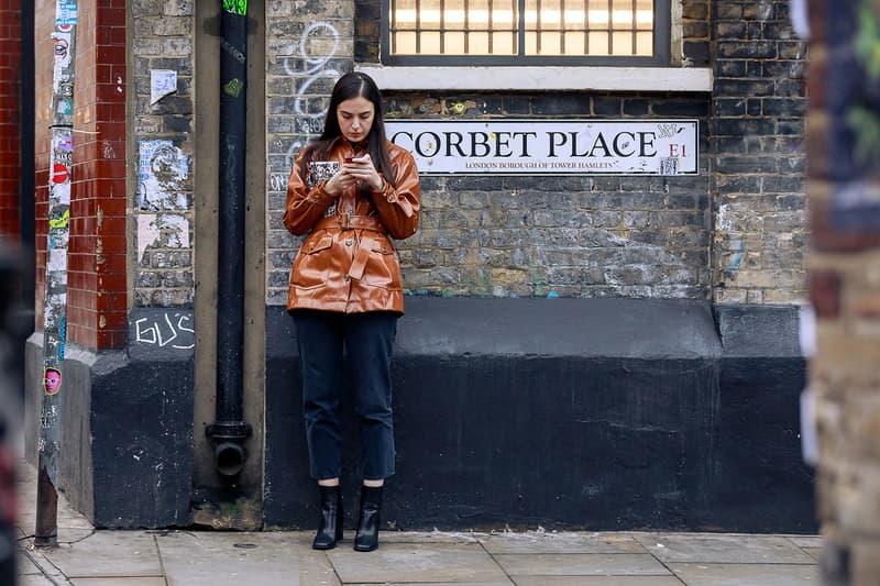 London Fashion Week Men's Fall/Winter 2020 Street Style Leather Jacket