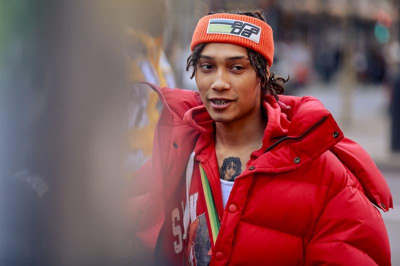 London Fashion Week Men's Fall/Winter 2020 Street Style Red Puffer Prada Headband