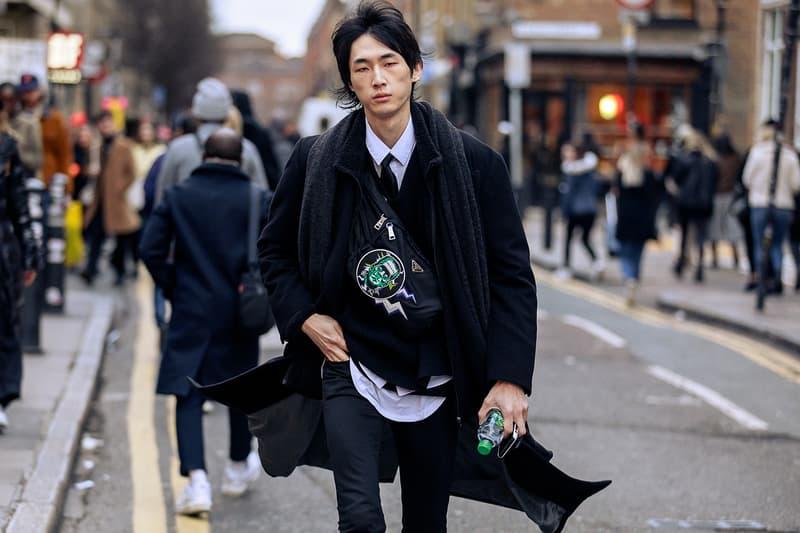 London Fashion Week Men's Fall/Winter 2020 Street Style Prada Frankeinstein Bag