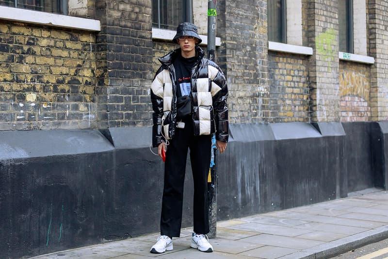 London Fashion Week Men's Fall/Winter 2020 Street Style Puffer Patent