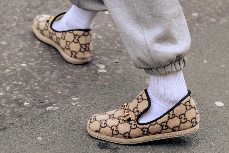 London Fashion Week Men's Fall/Winter 2020 Street Style Gucci Monogram Horsebit Loafers
