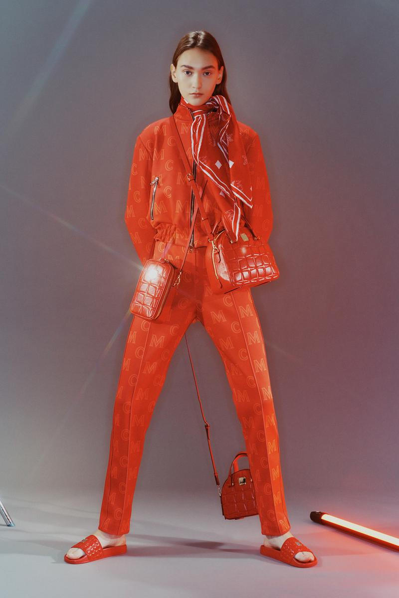 MCM Spring/Summer 2020 Collection Lookbook Track Jacket Pants Scarf Slides Orange Red
