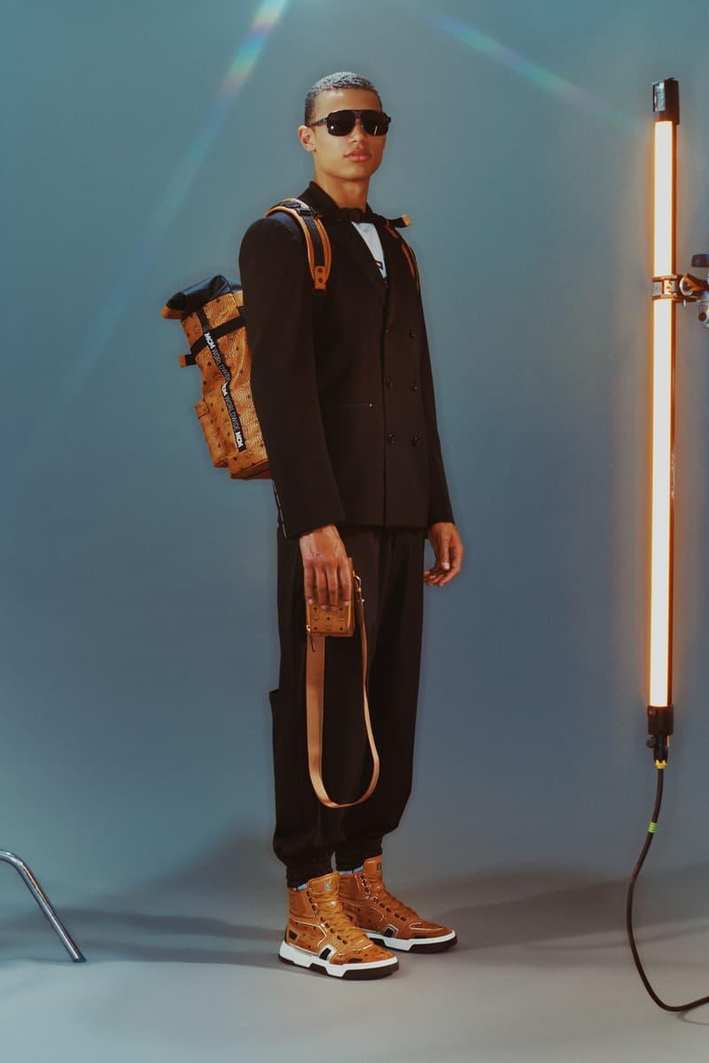 MCM Spring/Summer 2020 Collection Lookbook Blazer Sweatpants Black Sneakers Backpack Bourbon