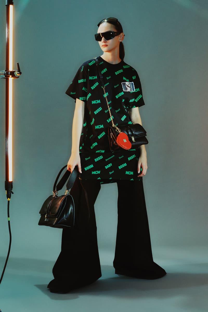 MCM Spring/Summer 2020 Collection Lookbook Flare Pants Black Logo T-Shirt Green