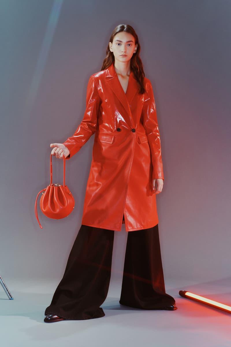 MCM Spring/Summer 2020 Collection Lookbook Trench Coat Leather Drawstring Bag Red Orange