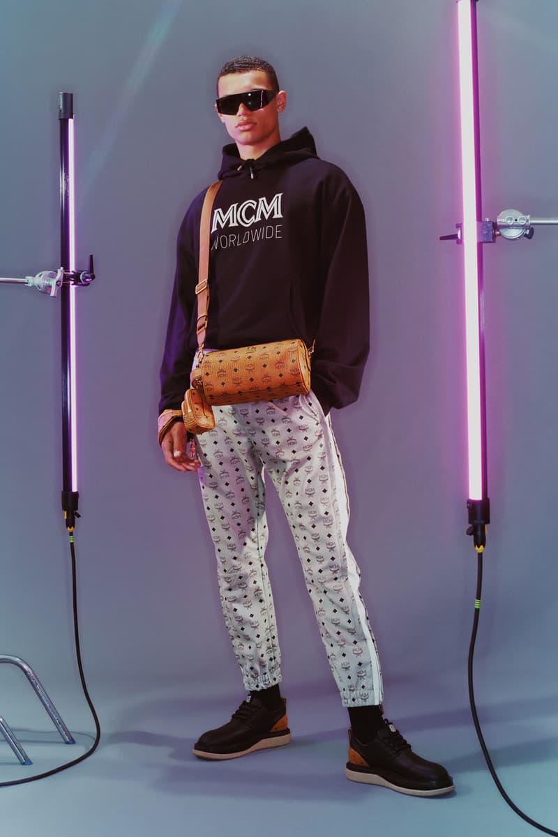 MCM Spring/Summer 2020 Collection Lookbook Logo Hoodie Black Sweatpants Visetos Grey