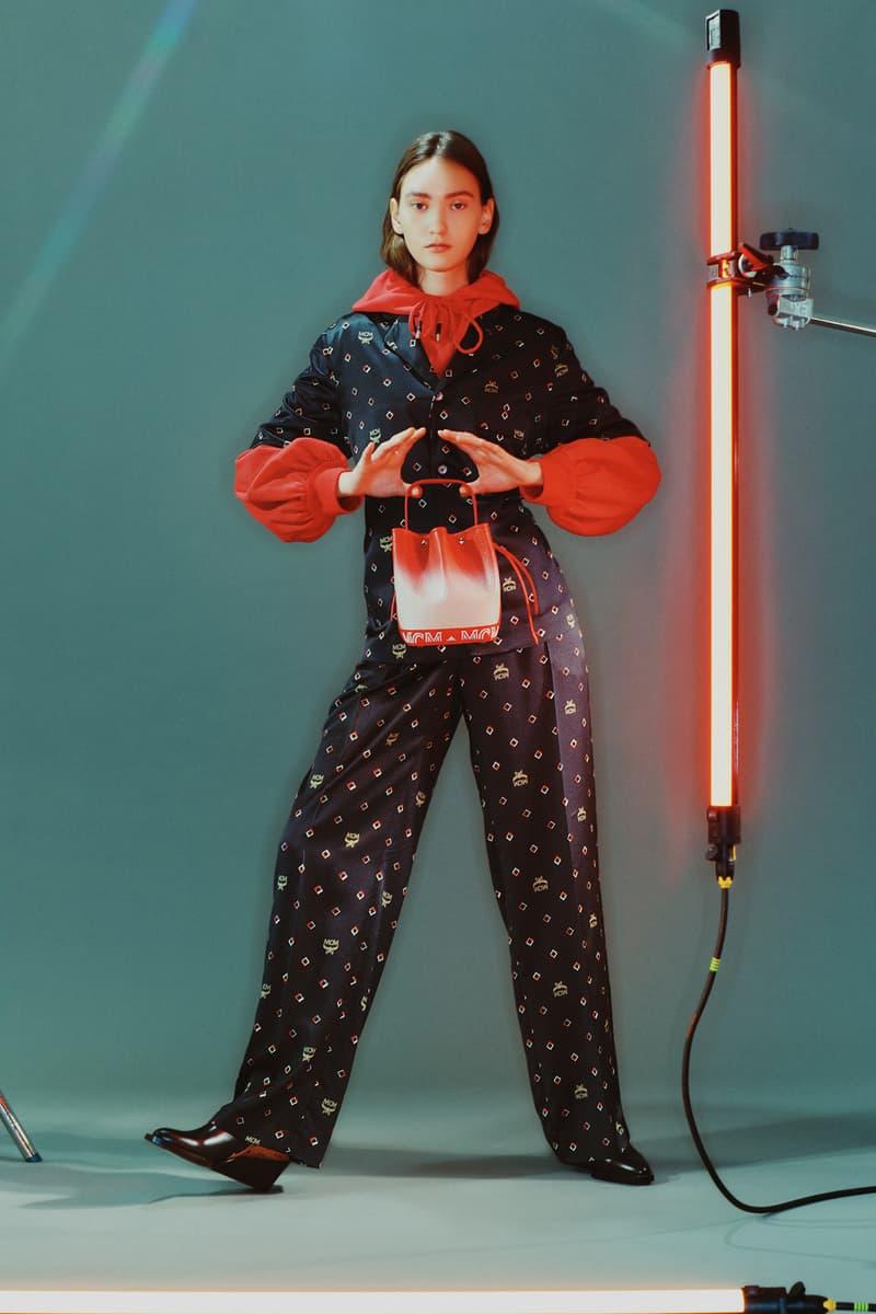 MCM Spring/Summer 2020 Collection Lookbook Print Shirt Pants Black Print Hoodie Bucket Bag Red Orange