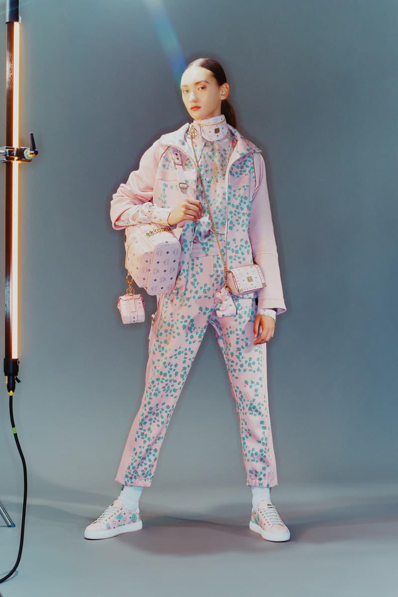 MCM Spring/Summer 2020 Collection Lookbook Print Jacket Pants Visetos Mini Bag Pink
