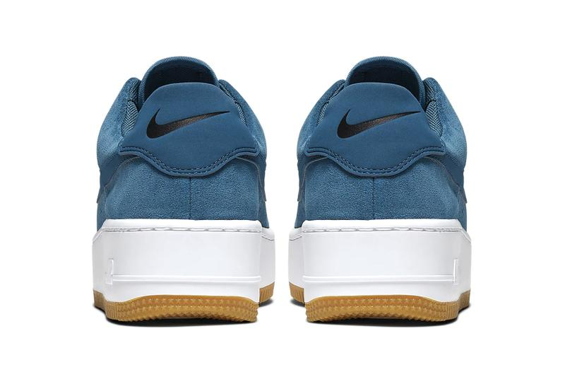 Nike Air Force 1 Sage Low Blue Force Black White Platform Women's Sneakers Trainers Suede elevated midsole gum sole