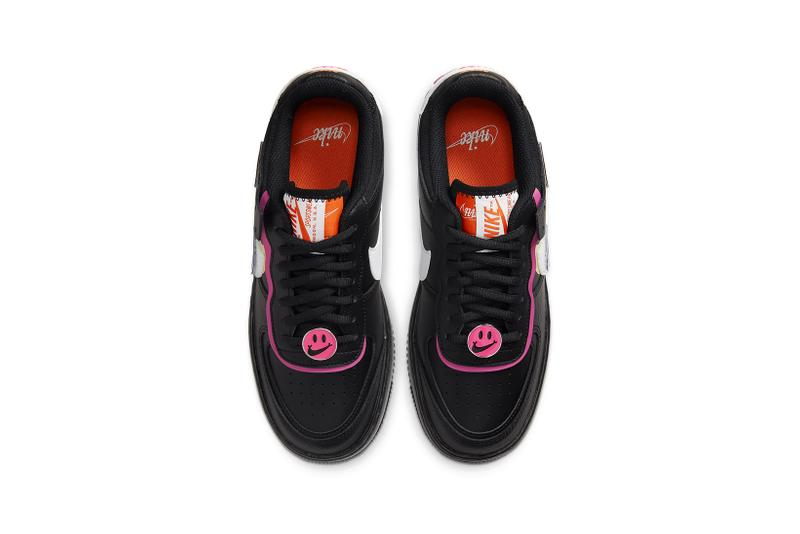 nike air force 1 shadow womens sneakers black pink fuchsia white yellow removable patches shoes footwear sneakerhead