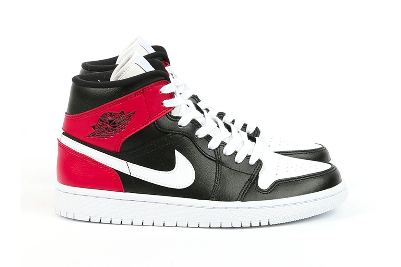 Nike Air Jordan 1 Mid In Black Noble Red White Hypebae