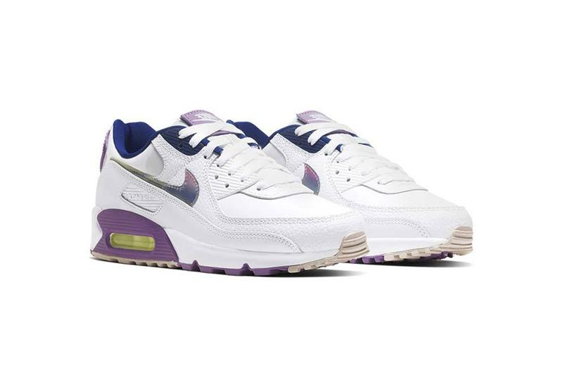 nike air max 90 se easter white multi color purple nebula sneaker footwear drop release anniversary leather navy green yellow volt velcro