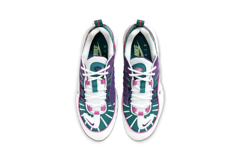 nike air max 98 bright spruce voltage purple green pink womens sneakers