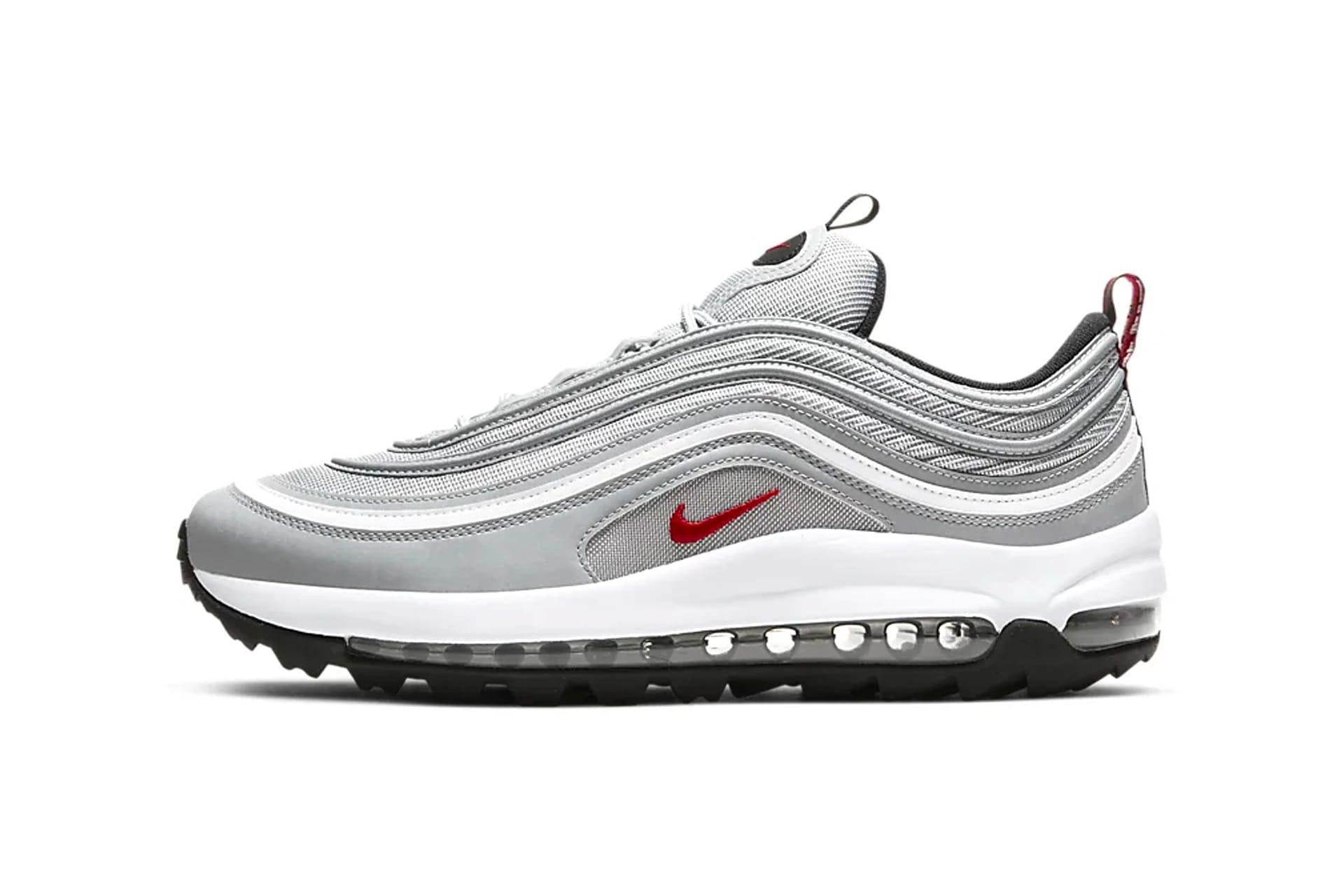 silver and black air max 97