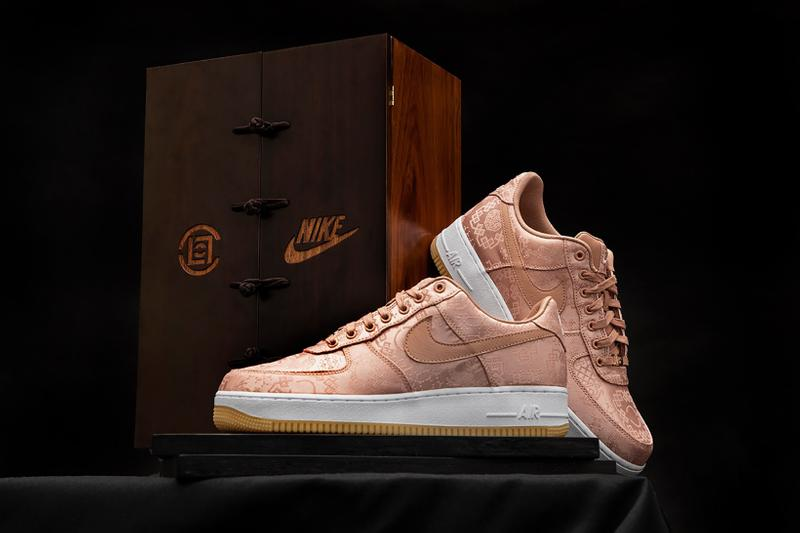nike clot collaboration air force 1 rose gold silk shoes footwear sneakerhead
