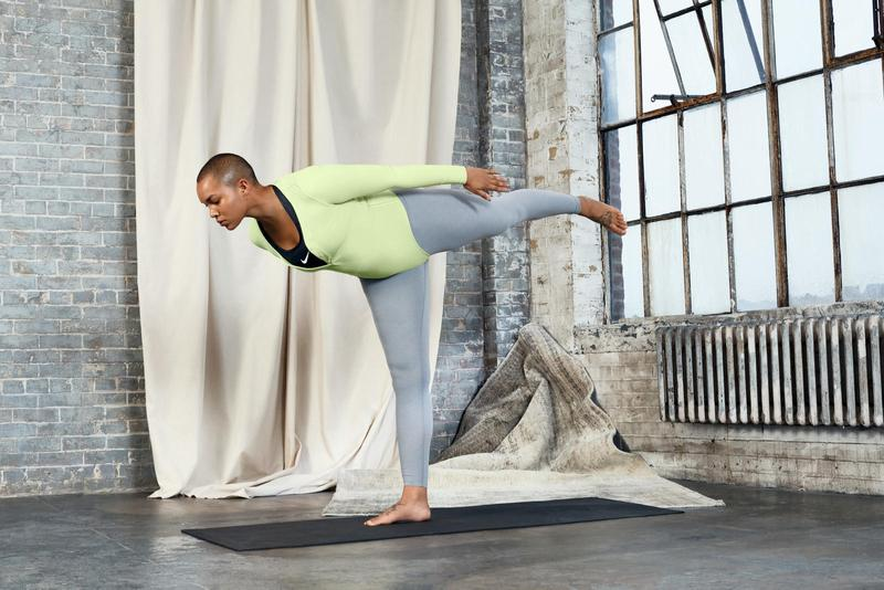 Nike Yoga Collection Infinalon Bodysuit Green Leggings Grey