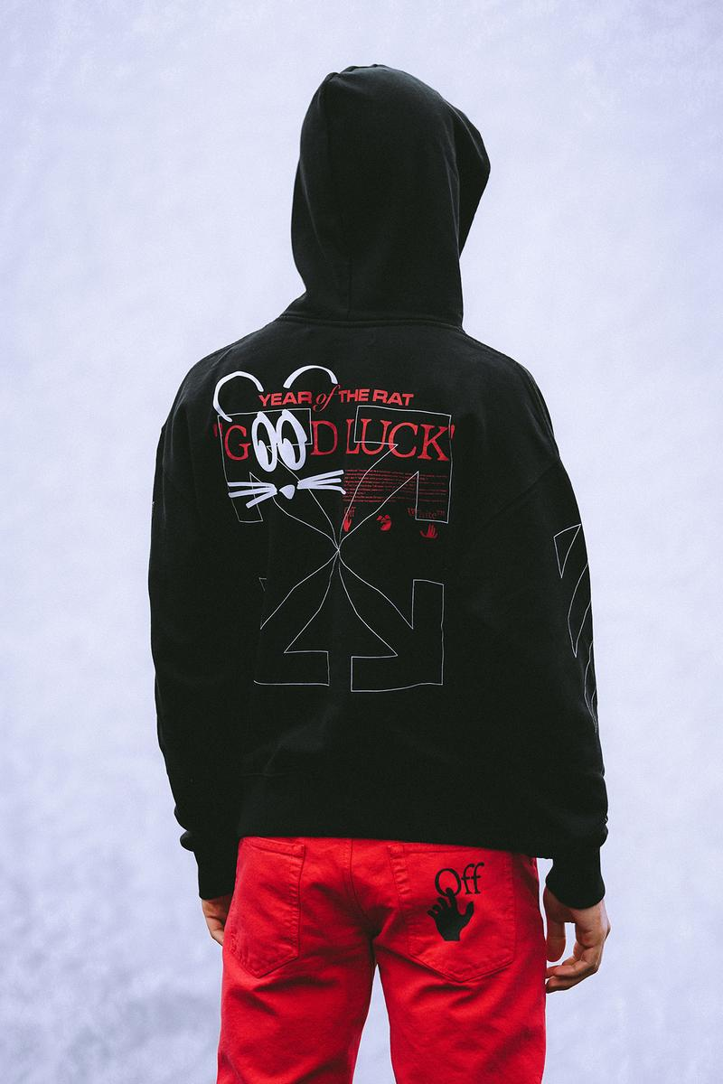 Off-White LUNAR NEW YEAR Collection Hoodie Black Jeans Red