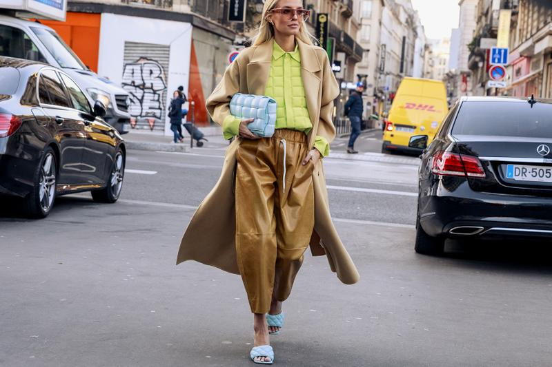 paris couture week spring summer street style adut akech bottega veneta nike air jordan 1 mid melody ehsani collaboration snakers designer bags blazer jeans pants coats outwear shades sunglasses