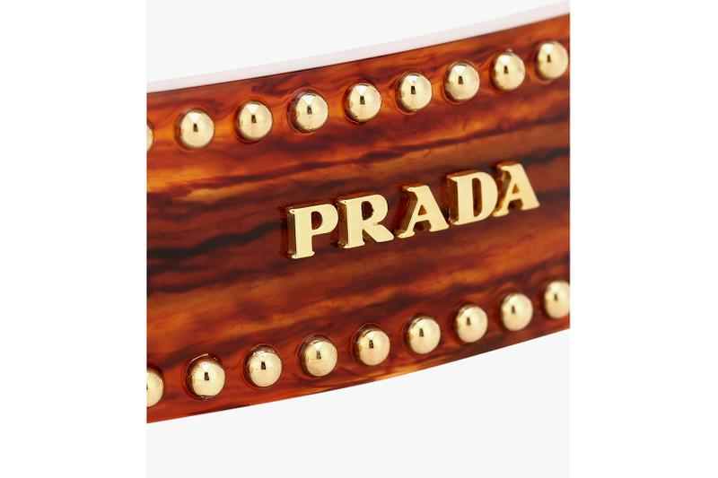 prada embellished logo hair clip brown gold accessory