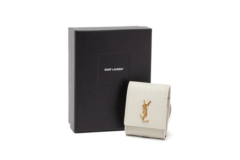 Saint Laurent YSL AirPod Logo Earphone Case Gold White Leather Luxury Accessory