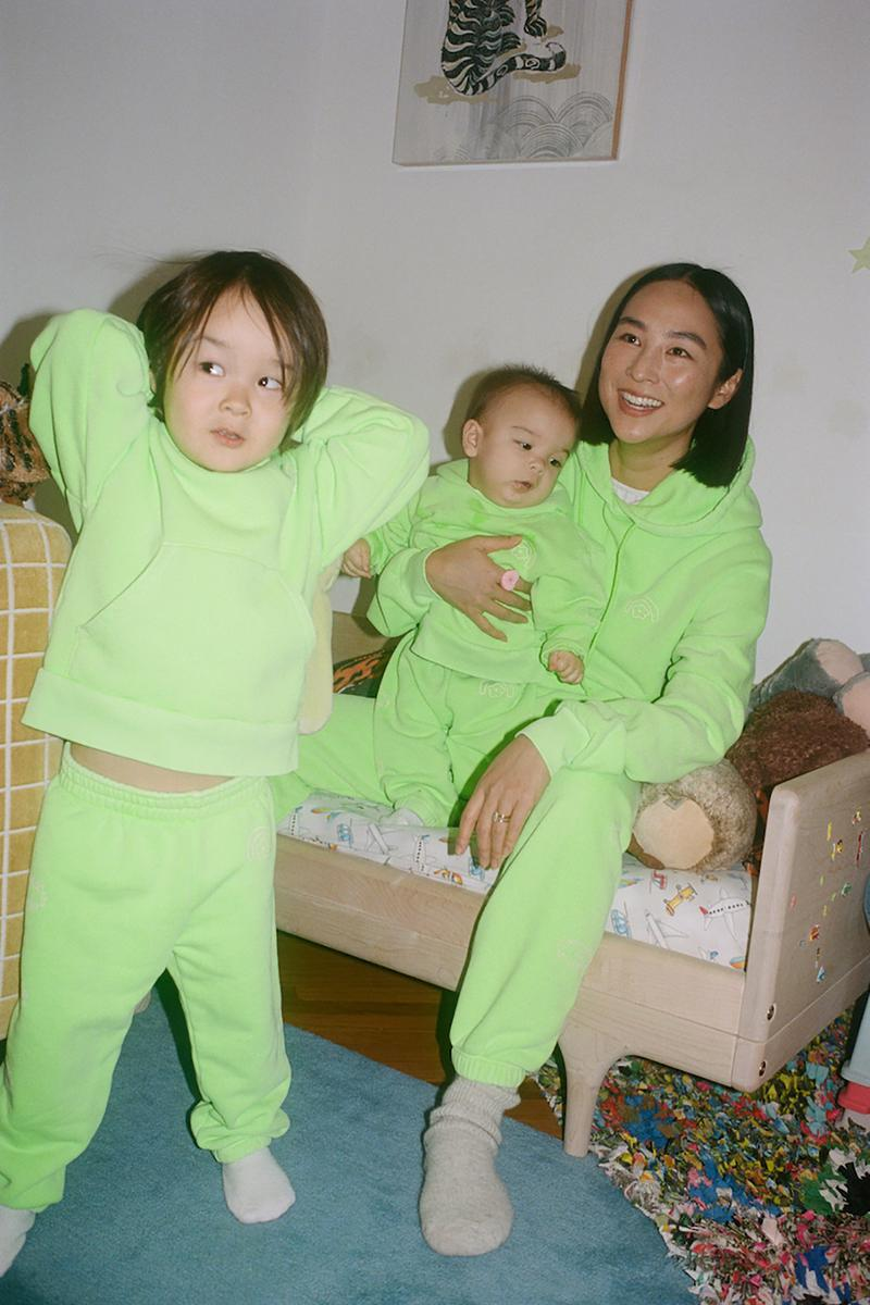 sandy liang two bridges collaboration limited edition hoodies sweatpants sets neon green pink greta lee