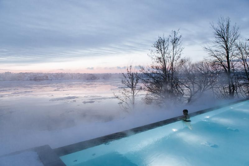 strom nordic spa quebec canada wellness hydrotherapy winter swimming pool