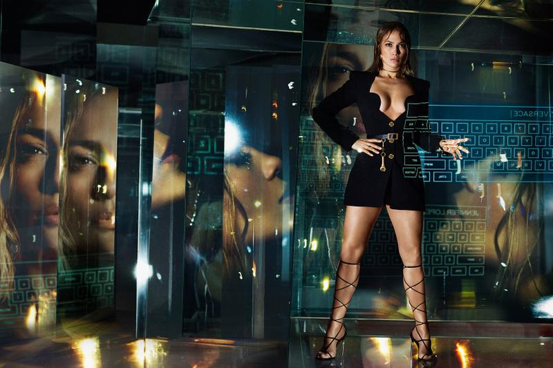 versace spring summer collection campaign jennifer lopez kendall jenner futurisic jungle dress