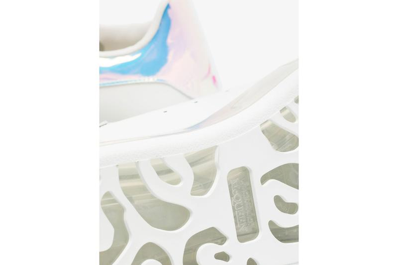 alexander mcqueen oversized womens sneakers shoes white clear iridescent sarah burton