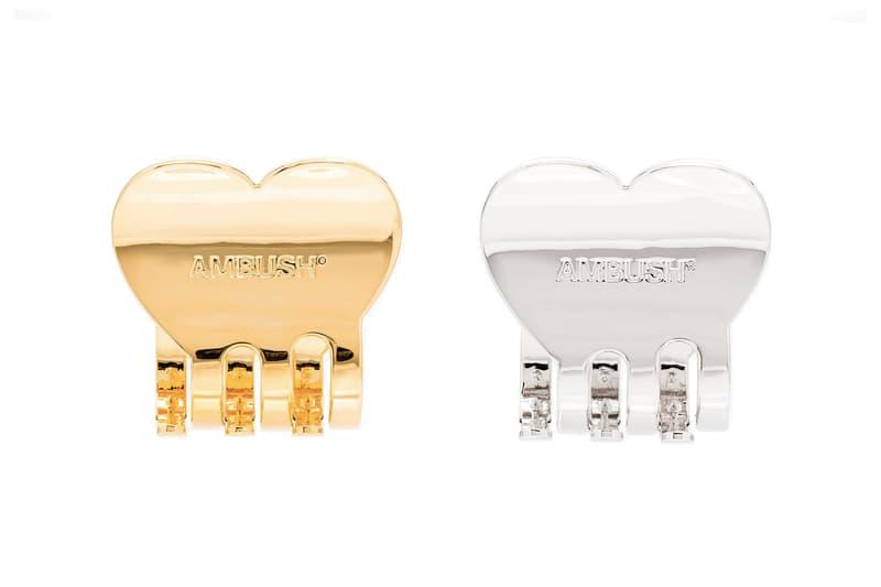 AMBUSH Heart-Shaped Hair Clip Gold Silver Tone Logo