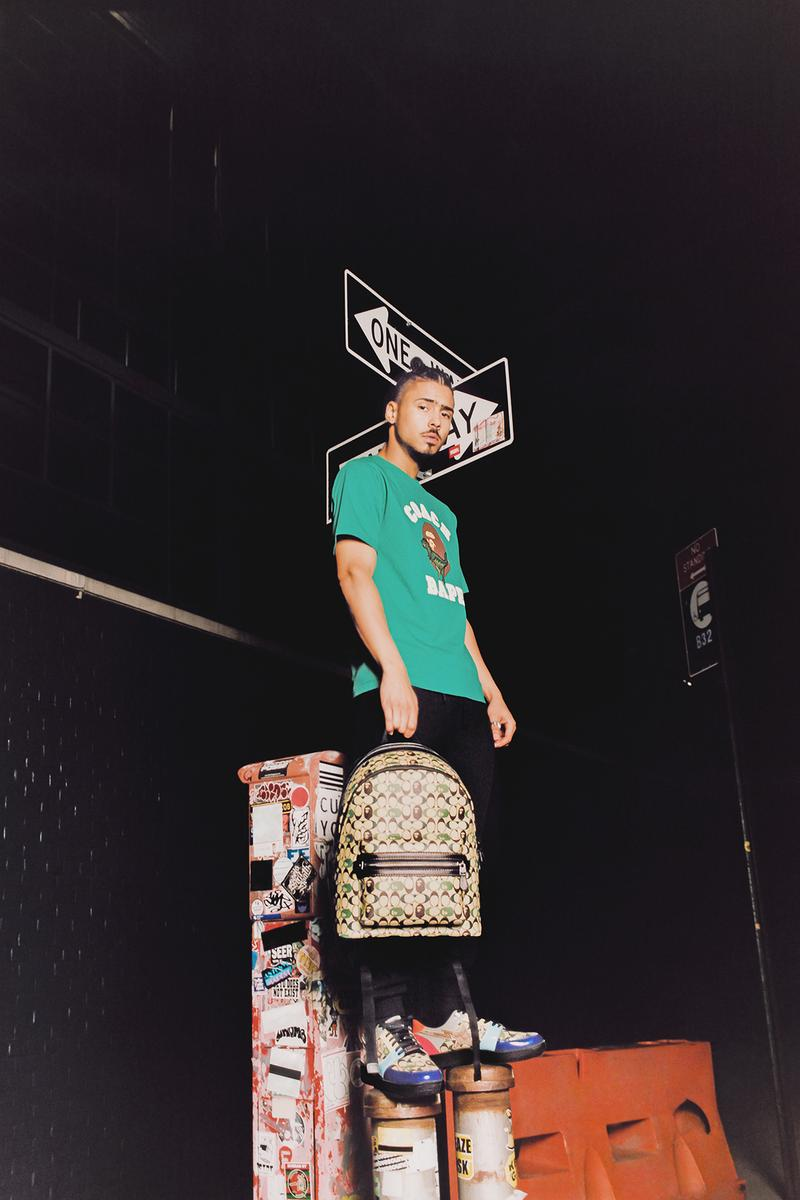 BAPE x Coach Collection Lookbook Backpack Monogram Brown T-Shirt Green