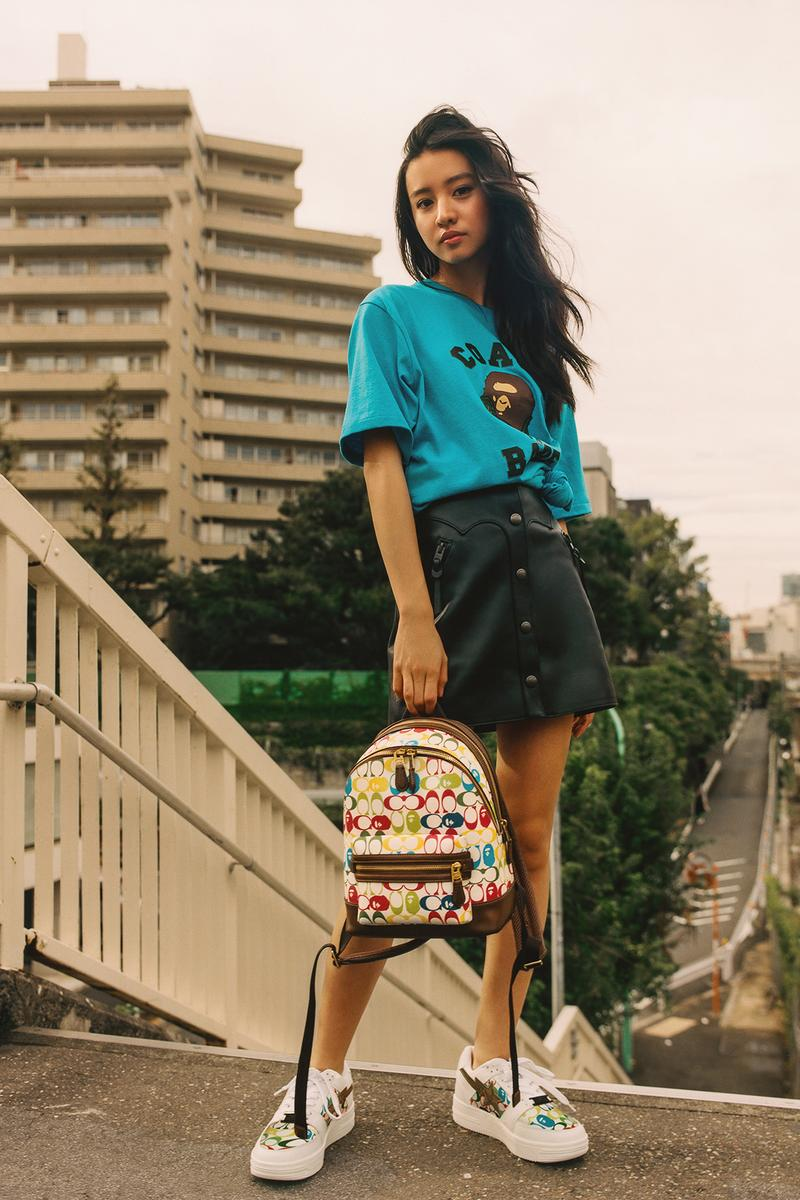 BAPE x Coach Collection Lookbook Backpack Multicolor Monogram T-Shirt Blue BAPE STA White