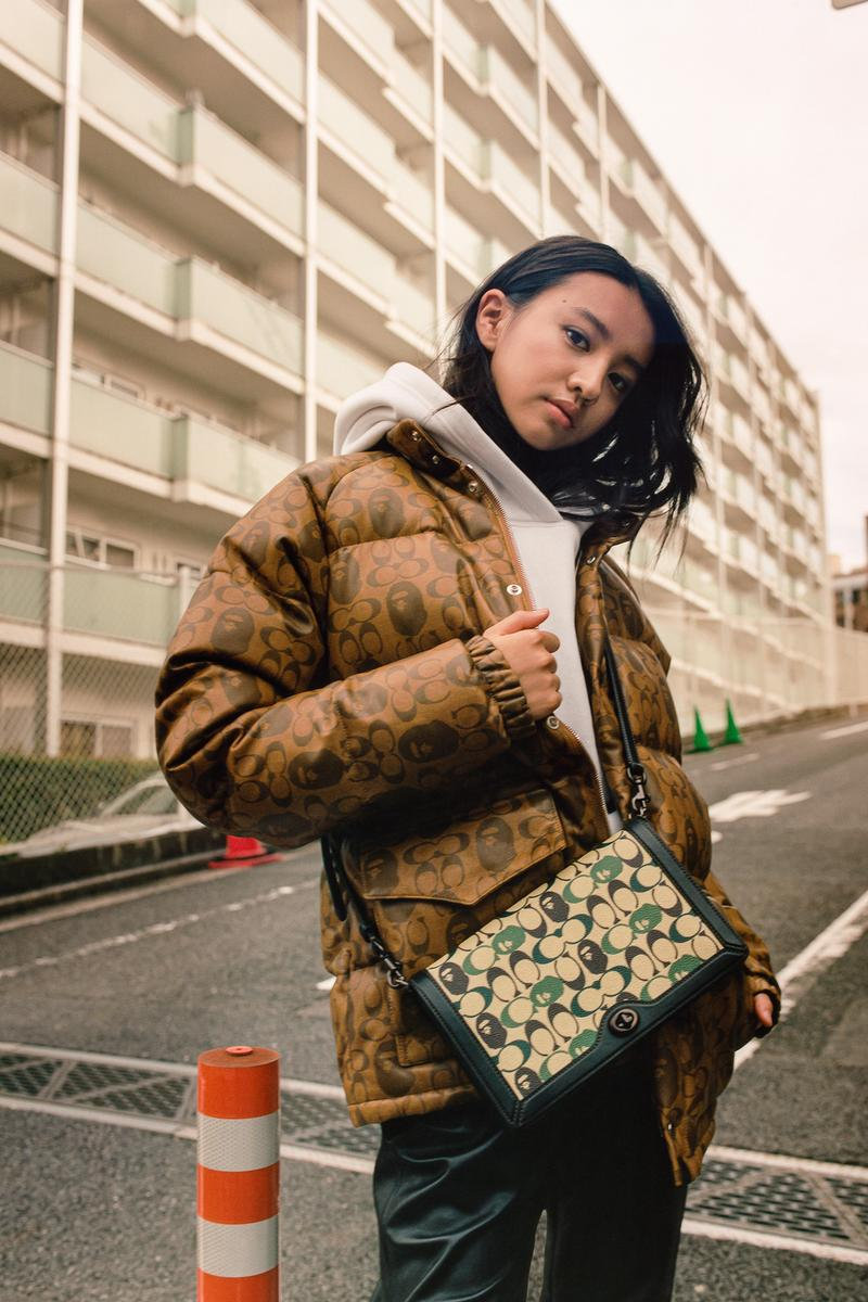BAPE x Coach Collection Lookbook Puffer Monogram Brown Crossbody Green