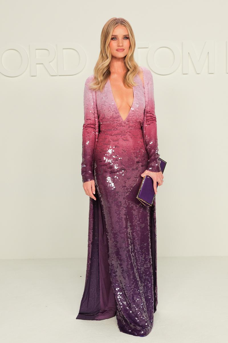 best celebrity style new york fashion week nyfw fall winter rosie huntington whiteley purple ombre dress clutch