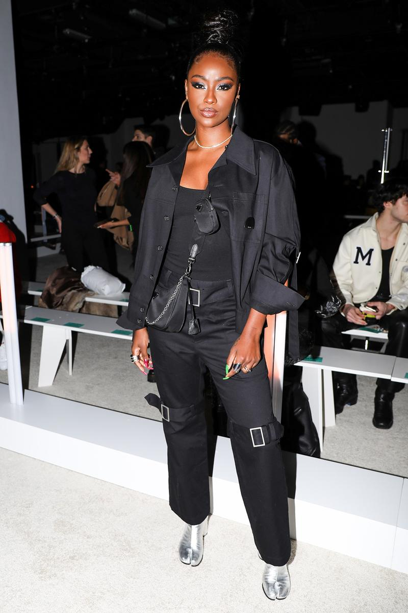 best celebrity style new york fashion week nyfw fall winter justine skye black shirt pants silver tabi boots