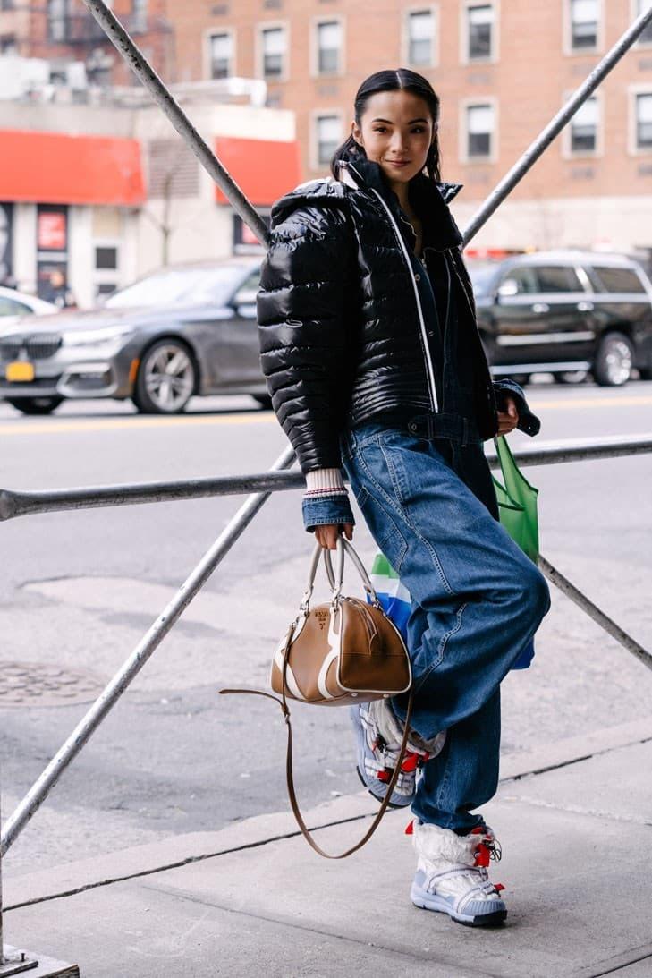 Ju Xiao Wen Tom Sachs Mars Yard Nike Shoe Sneaker Prada Bowling Bag Model Supermodel Chinese Street Style NYFW FW20